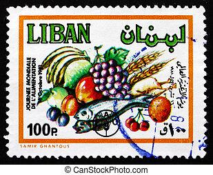 γραμματόσημο , λίβανος , 1982 , παράγω , κόσμοs , τροφή , ημέρα