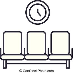 γραμμικός , εικόνα , εικόνα , concept., σύμβολο , αναμονή , μικροβιοφορέας , γραμμή , σήμα , δωμάτιο