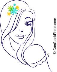 γραμμικός , περίγραμμα , από , όμορφος , κορίτσι , περίγραμμα , μέσα , με , λουλούδια
