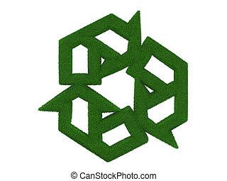 γρασίδι , ανακυκλώνω σύμβολο , απομονωμένος , αναμμένος αγαθός , φόντο