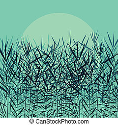 γρασίδι , αυλός , και , άγριος , απάτη , λεπτομερής , απεικονίζω σε σιλουέτα , εικόνα , φόντο , μικροβιοφορέας , μέσα , σεληνόφωτο