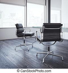 γραφείο , αρτάνη έδρα , μοντέρνος , δυο , room., απόδοση , 3d