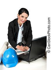 γραφείο , γυναίκα , εργαζόμενος , αρχιτέκτονας