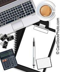 γραφείο , καφέs , αριθμομηχανή , laptop , ρεαλιστικός , πένα , μικροβιοφορέας , γραφείο