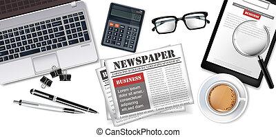 γραφείο , καφέs , εφημερίδεs , laptop , ρεαλιστικός , πένα , μικροβιοφορέας , γραφείο , άσπρο