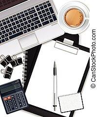 γραφείο , καφέs , laptop , ρεαλιστικός , πένα , μικροβιοφορέας , γραφείο , αριθμομηχανές