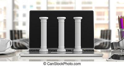 γραφείο , κλασικός , τρία , εικόνα , διακοσμώ με κολώνες ,...