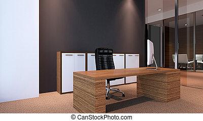 γραφείο , μέσα , ένα , καινούργιος , κατοικητικός , area., 3d , rendering.