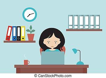 γραφείο , μικροβιοφορέας , laptop., γελοιογραφία , εικόνα , τοίχοs , ρολόι , σχεδιάζω , δούλεμα γυναίκα , διαμέρισμα , αγαθοεργήματα αναλόγιο , ράφια
