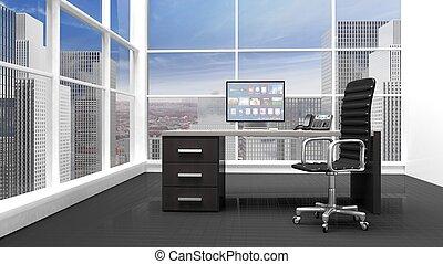 γραφείο , μοντέρνος , εσωτερικός , παράθυρο , cityscape , βλέπω