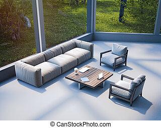 γραφείο , περιοχή , μοντέρνος , sofa., απόδοση , αναμονή , 3d