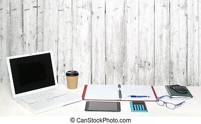 γραφείο , τραπέζι , με , objects.