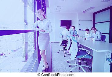 γραφείο , φόντο , αυτήν , γυναίκα , προσωπικό , επιχείρηση