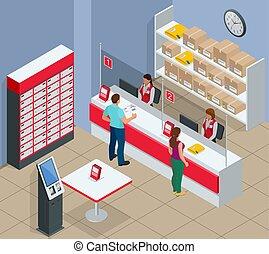 γραφείο , concept., μικροβιοφορέας , ακολουθία. , άντραs , ταχυδρομώ , αλληλογραφία , αναμονή , δέμα , απομονωμένος , isometric , εικόνα , γυναίκα , νέος