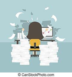 γραφείο , concept., σκληρά , επιχειρηματίαs γυναίκα , βάζω στο τραπέζι. , δουλειά , πολύ , απασχολημένος