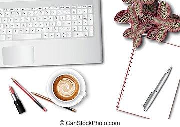 γραφείο , laptop , ttop, γυναίκα , γραφείο , εφόδια , τραπέζι , βλέπω