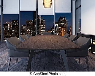γραφείο , room., μοντέρνος , απόδοση , νύκτα , συνάντηση , 3d