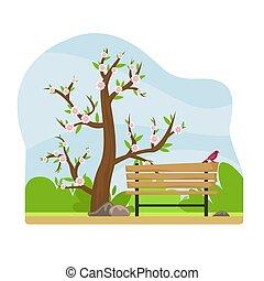 γραφική εξοχική έκταση. , άνοιξη , πάρκο , αλλέα , πάγκος , αγχόνη. , lantern., ακμάζων