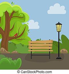 γραφική εξοχική έκταση. , άνοιξη , πάρκο , lantern., πάγκος , αλλέα