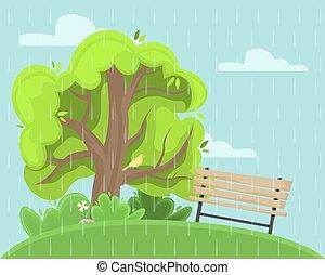 γραφική εξοχική έκταση. , βροχερός , άνοιξη , πάρκο , αλλέα , bench.