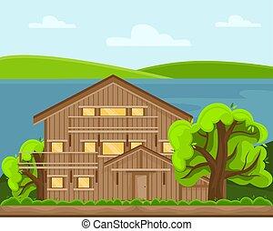 γραφική εξοχική έκταση. , επαρχία , άνοιξη , ηλιόλουστος , lake., ημέρα