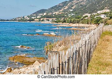 γραφική εξοχική έκταση. , νησί , ajaccio , france., ακτογραμμή , κορσική