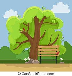 γραφική εξοχική έκταση. , πάρκο , bench., αλλέα άλμα