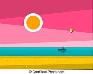 γραφική εξοχική έκταση. , illustration., διαμέρισμα , κωπηλασία , οκεανόs , μικροβιοφορέας , ηλιοβασίλεμα , ανατολή , θάλασσα , σχεδιάζω , silhouette., βάρκα , άντραs