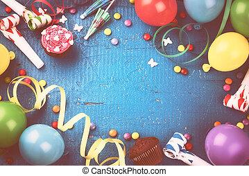 γραφικός , γενέθλια , κορνίζα , με , multicolor , μπαλόνι , και , πάρτυ , items., ευτυχισμένα γεννέθλια , γενική ιδέα
