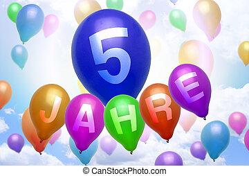 γραφικός, Γερμανίδα,  balloon, χρόνια,  5, μπαλόνι