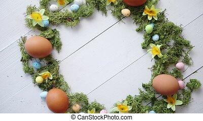 γραφικός , διακοσμητικός , easter αβγό , στεφάνι , αναμμένος...