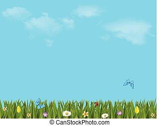 γραφικός , εικόνα , με , όμορφος , λιβάδι , και γαλάζιο , ουρανόs
