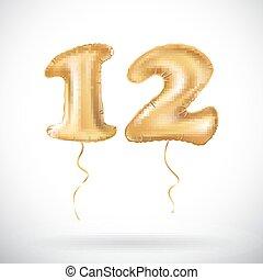 γραφικός , ευφυείς , μοναδικός , φόντο , εορτασμόs , επέτειος , μπαλόνι , πρόσκληση , πάρτυ , μικροβιοφορέας , & , σχεδιάζω , χρόνια , 3d , confetti., δικό σου , χρυσός , εικόνα , ζωντανός , κάρτα , 12 , δώδεκα