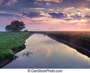 γραφικός , καλοκαίρι , ανατολή , επάνω , ο , ποτάμι