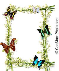 γραφικός , καλοκαίρι , κορνίζα , με , πεταλούδες