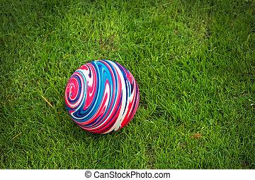 γραφικός , καουτσούκ μπάλα , επάνω , ο , πράσινο , grass.