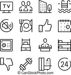 γραφικός , ξενοδοχείο , περίγραμμα , απεικόνιση , απλό , collection., set., μοντέρνος , ακολουθία , μικροβιοφορέας , άνεσεις , αντίληψη , σχεδιάζω , γραμμή , στοιχεία