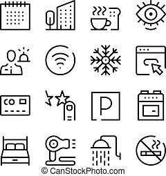 γραφικός , ξενοδοχείο , περίγραμμα , απεικόνιση , απλό , collection., set., μοντέρνος , ανέσεις , μικροβιοφορέας , σχεδιάζω , αντίληψη , ακολουθία , γραμμή , στοιχεία