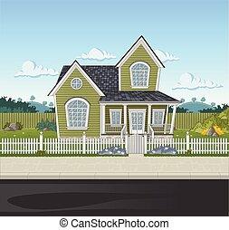γραφικός , σπίτι , μέσα , προάστιο , neighborhood.