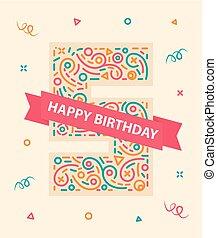 γραφικός , χαιρετισμός , αριθμόs , γενέθλια , 5 , έτος , πέντε , κάρτα , ευτυχισμένος