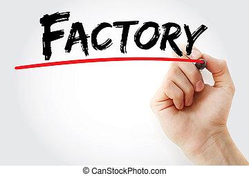 γραφικός χαρακτήρας , εργοστάσιο , με , μαρκαδόρος