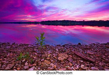 γραφικός , longview , ανατολή , λίμνη