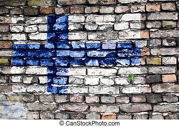 γριά , απεικονίζω , φινλανδία , τοίχοs , σημαία , τούβλο