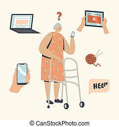 γριά , αρχαιότερος , κινητός , δύσκολος , κράτημα , γυναίκα , σύγχυσα , καινούργιος , έξω , μαθαίνω , χαρακτήρας , technologies., γυναίκα , smartphone, νούμερο