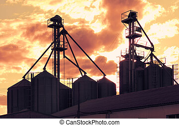 γριά , βιομηχανία , ηλιοβασίλεμα