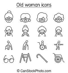 γριά , γιαγιά , θέτω , γυναίκα , εικόνα , αδυνατίζω αμυντική γραμμή , ρυθμός , γεροντότερος