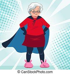 γριά , γιαγιά , κοστούμι , ευθυμία ακουμπώ , τρόπος ζωής , superhero , βέβαιος , υγεία , λαγουδάκι , κουραστικός , καυκάσιος , γυναίκα , slippers., theme., ηλικία , ανάμιξη , γελοιογραφία , illustration., φιλικά , μικροβιοφορέας , ακρωτήριο , αρχαιότερος , αποθαρρύνω
