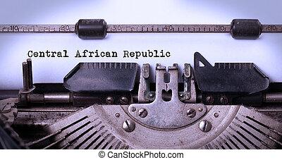 γριά,  -, δημοκρατία, αφρικανός, κεντρικός, γραφομηχανή