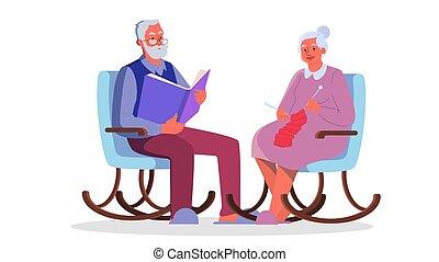 γριά , διάβασμα , παππούs , πλέξιμο , armchait., book., κυρία