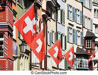 γριά , δρόμοs , μέσα , ζυρίχη , διακόσμησα , με , σημαίες , για , ο , ελβετός , εθνικός , ημέρα , 1st , από , αύγουστος